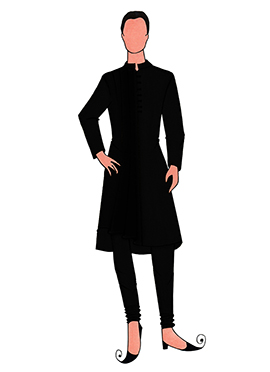 Cowled Style Black Kurta Pyjama Pattern 3