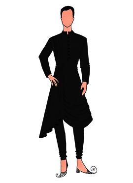 Cowled Style Black Kurta Pyjama Pattern 5