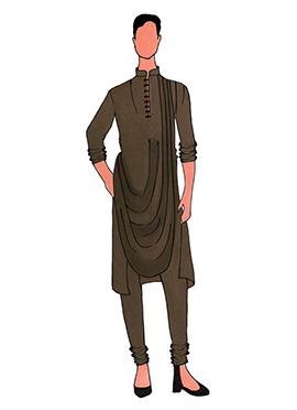 Cowled Style Brown Kurta Pyjama Pattern 1