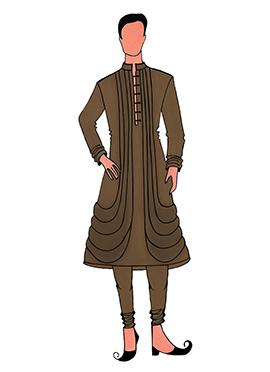 Cowled Style Brown Kurta Pyjama Pattern 6
