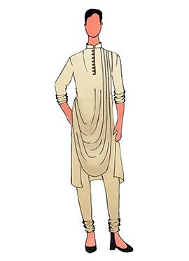 Cowled Style Cream Kurta Pyjama Pattern 1