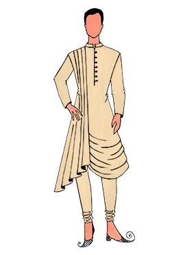 Cowled Style Cream Kurta Pyjama Pattern 5