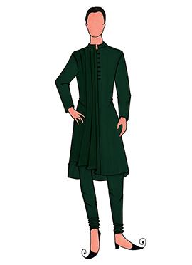 Cowled Style Green Kurta Pyjama Pattern 3