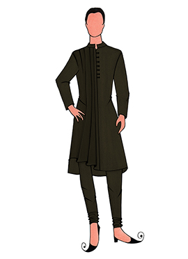 Cowled Style Mehendi Green Kurta Pyjama Pattern 3