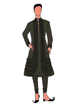 Cowled Style Mehendi Green Kurta Pyjama Pattern 6