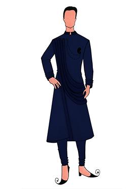 Cowled Style Navy Blue Kurta Pyjama Pattern 2