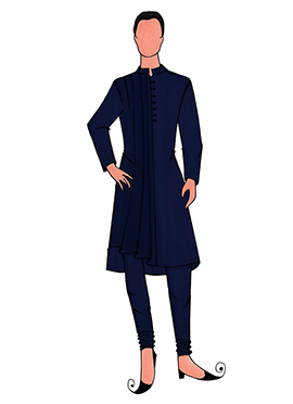 Cowled Style Navy Blue Kurta Pyjama Pattern 3