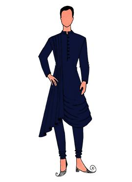 Cowled Style Navy Blue Kurta Pyjama Pattern 5