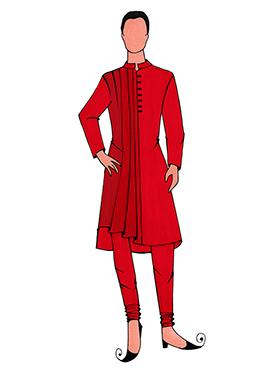 Cowled Style Red Kurta Pyjama Pattern 3