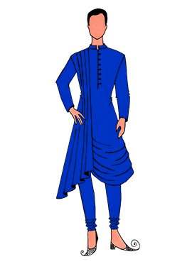 Cowled Style Royal Blue Kurta Pyjama Pattern 5
