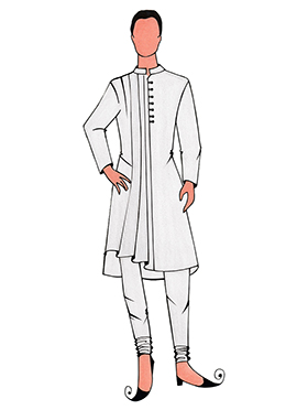 Cowled Style White Kurta Pyjama Pattern 3