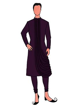 Cowled Style Wine Kurta Pyjama Pattern 7