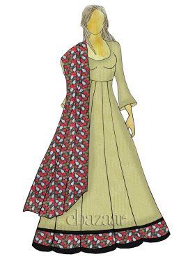 Cream Abaya Style Anarkali Suit