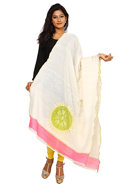 Cream Art Benarasi Silk Dupatta