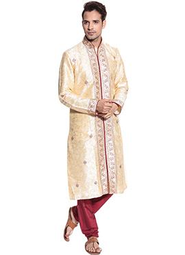 Cream Art Dupion Silk Classic Sherwani
