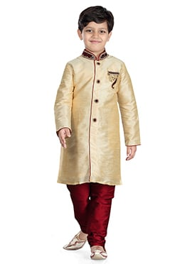 Cream Art Dupion Silk Kids Kurta Pyjama