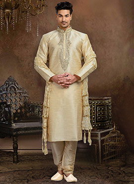 Cream Art Dupion Silk Kurta Pyjama