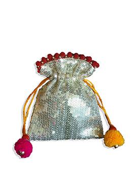Cream Art Dupion Silk Potli Bag