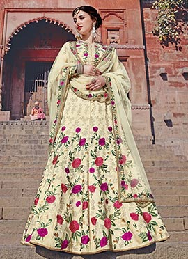 Cream Art Silk A Line Lehenga