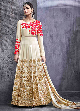 Cream Art Silk Abaya Style Anarkali suit