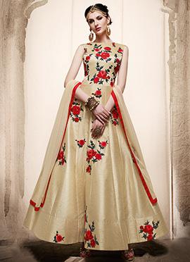 Cream Art Silk Abaya Style Anarkali Suit