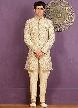 Cream Art Silk Achkan Sherwani