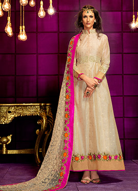 Cream Art Silk Anarkali Suit
