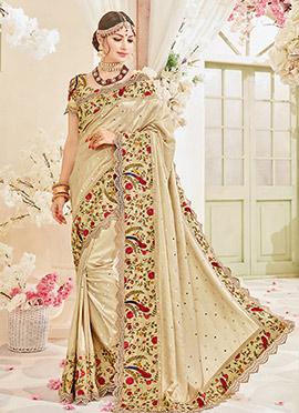 Cream Art Silk Border Saree