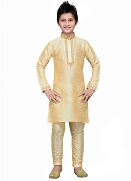 Cream Art Silk Boys Kurta Pyjama