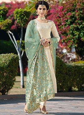 Cream Art Silk Churidar Suit