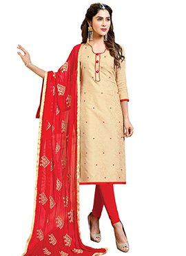 Cream Art Silk Churidar Suit