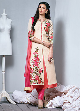 Cream Art Silk Churidhar Suit