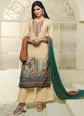 Cream Art Silk Cotton Palazzo Suit