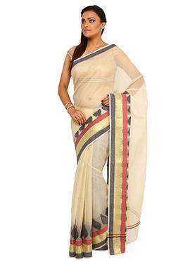 Cream Art Silk Cotton Saree