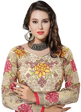 Cream Art Silk Embroidered Blouse