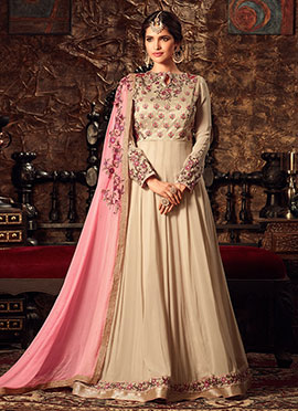 Cream Art Silk Georgette Anarkali Suit