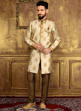 Cream Art Silk Indowestern Sherwani