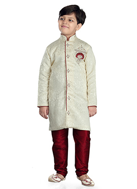 Cream Art Silk Jacquard Kids Kurta Pyjama