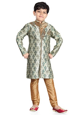 Cream Art Silk Jacquard Kids Kurta Pyjama