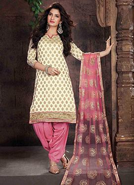 Cream Art Silk Jacquard Patiala Suit