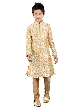 Cream Art Silk Kids Kurta Pyjama