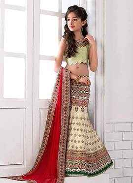 Cream Art Silk Kids Lehenga