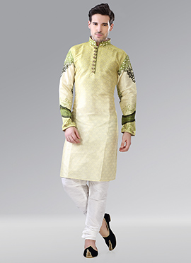 Lemon Yellow N Green Art Silk Kurta Pyjama