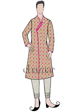 Cream Art Silk Kurta Pyjama Set