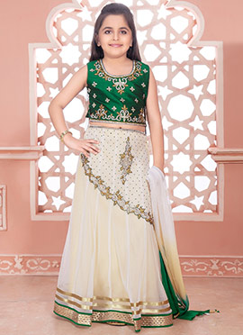 Cream Art Silk Net Kids Lehenga
