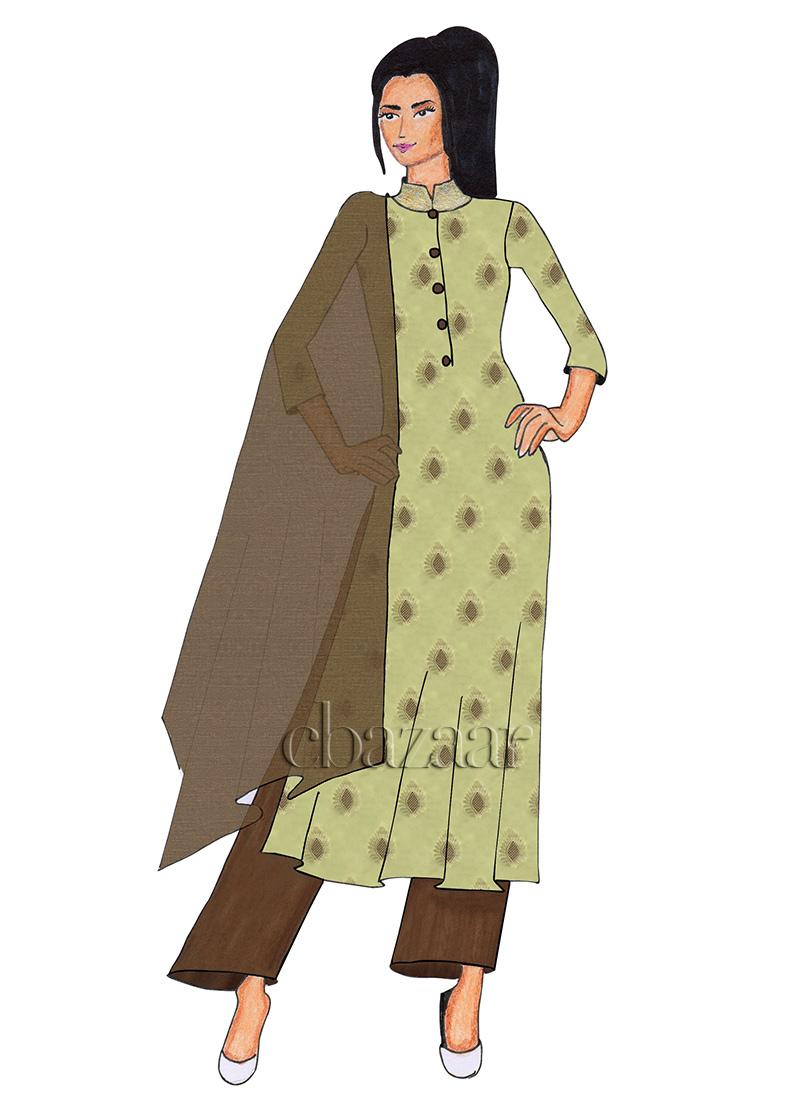 Buy Cream Art Silk Palazzo Suit Jacquard Palazzo Suit