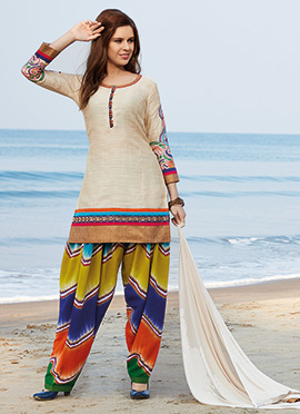 Cream Art Silk Patiala Suit