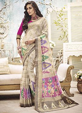 Cream Art Silk Printed Saree