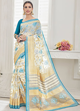 Cream Super net Saree