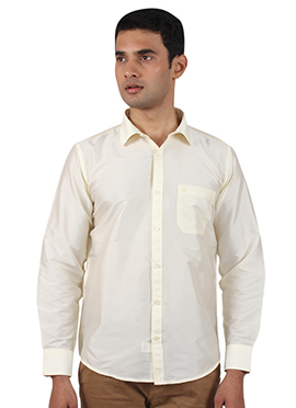 Cream Art Silk Shirt